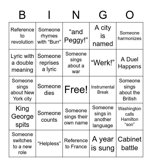 Hamilton Bingo Card