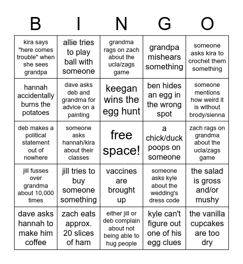 gustlin easter bingo! Bingo Card