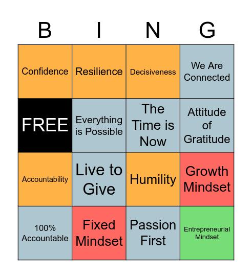 Entrepreneurial Mindset Bingo Card