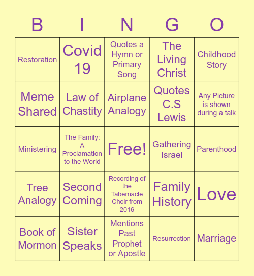 April 2021 General Conference Bingo Card