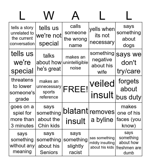Wall Bingo Card