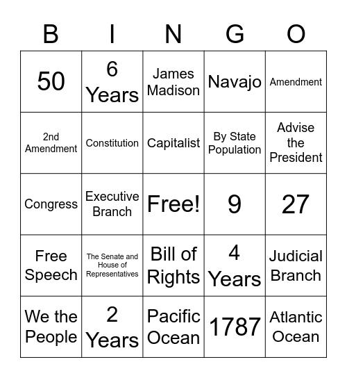 Arizona Civics Test Bingo Card