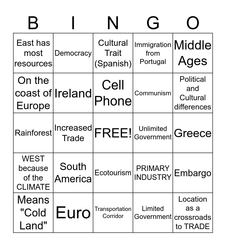 Latin America and Europe Bingo Card