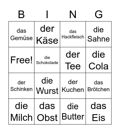 Einkaufen Bingo Card