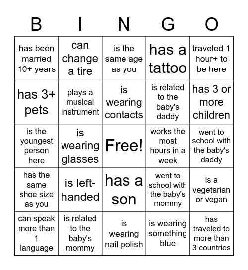 Find the guest Bingo Card