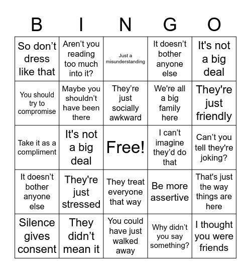 Work Place Harassment Bingo Card