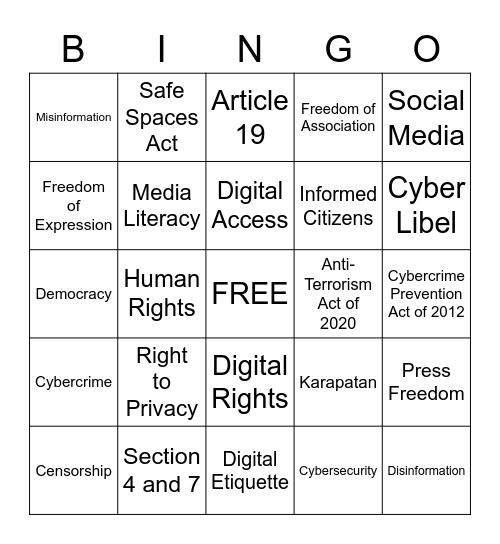 Social Media and the Law Bingo Card