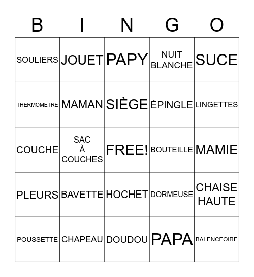 SHOWER DE JESSICA ET SIMON Bingo Card