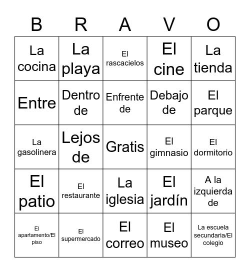 Casa, Lugares, y Preposiciones Bingo Card