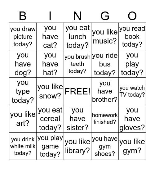Sign Language Practice Bingo Card