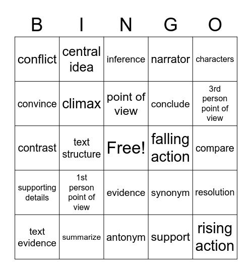 Academic Vocab. Review Bingo Card