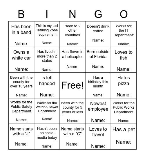 Training Zone Bingo Card