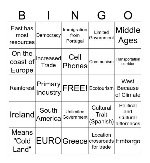 Latin America and Europe Bingo Card