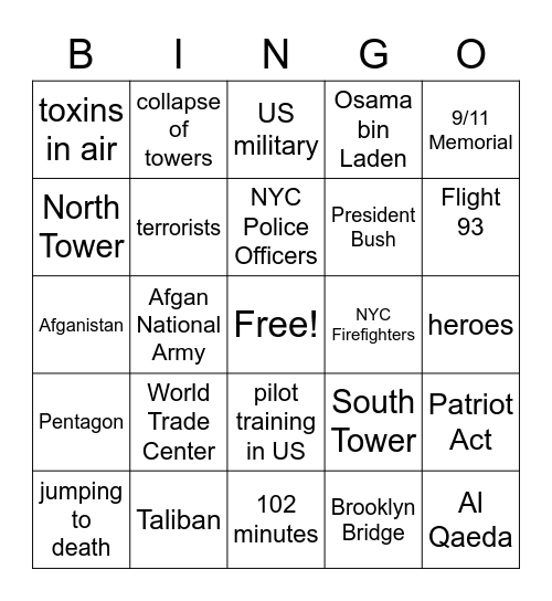 Ground Zero Bingo Card