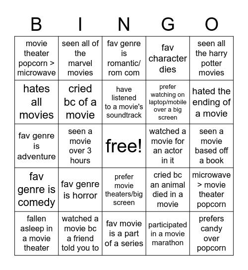 movie bingo Card