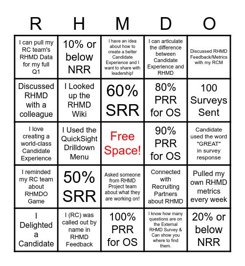 Recruiting How's My Driving Bingo Card