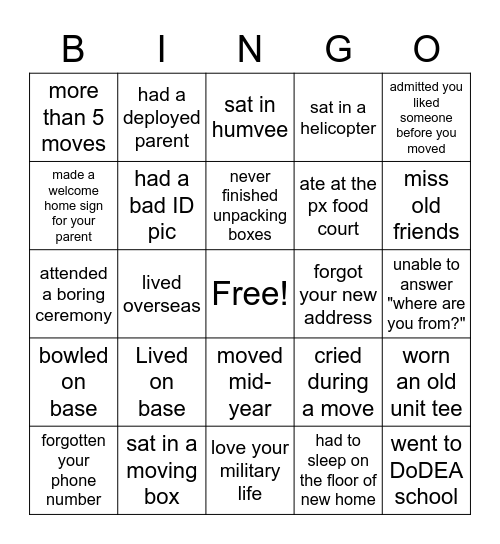 Military Kid Bingo Card