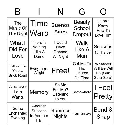 Broadway Hits Bingo Card