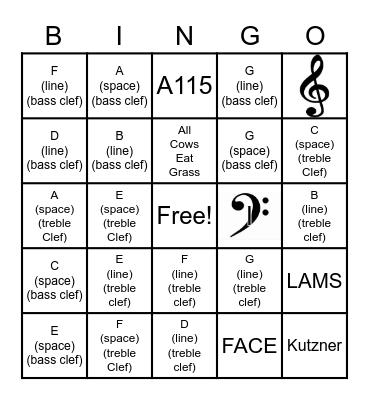 The Grand Staff Bingo Card
