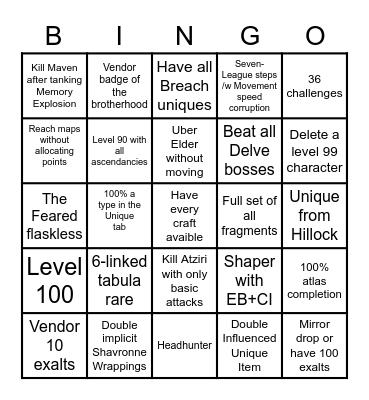 SSF Ultimatium Bingo Card