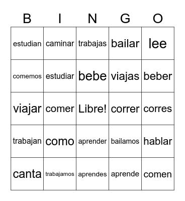 Spanish -ER & -AR Verbs Bingo Card