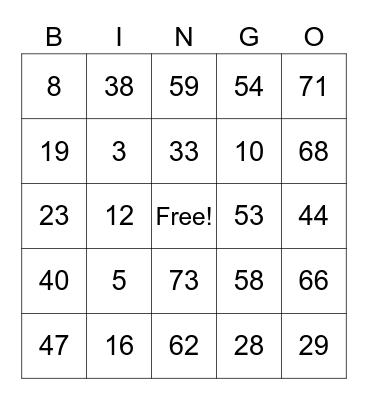 DCP - TROPANG JC TV Bingo Card