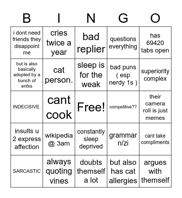 intp bingo Card