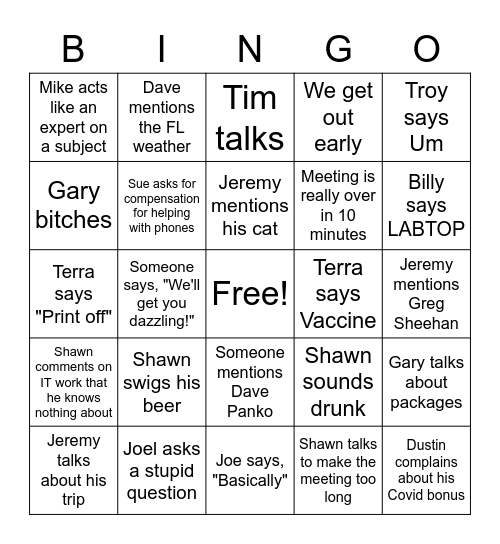 Company Meeting Bingo Card