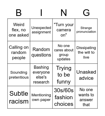 Project lecture bingo Card