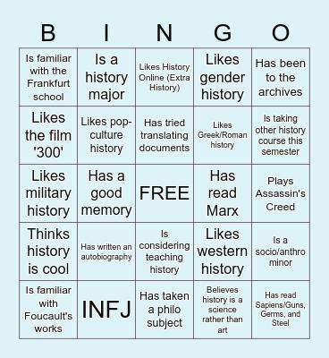 HISTO 110 - PHILOSOPHY OF HISTORY Bingo Card