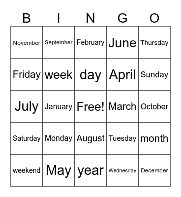 Days of the Week/Months of the Year Bingo Card