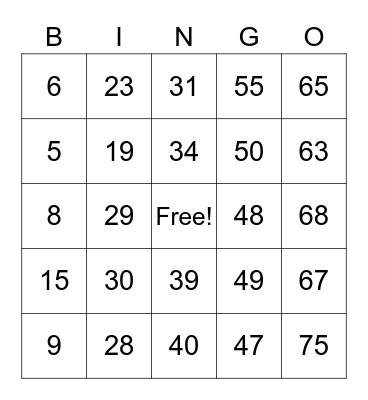 Number Bingo 1-75 Bingo Card