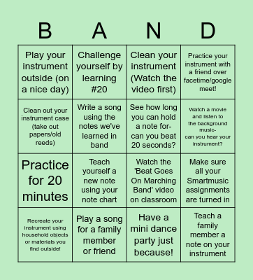Band Bingo Card