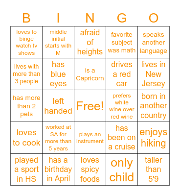 Schooling Get To Know You BINGO Card