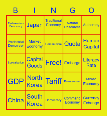 SE Asia Government & Economy Vocab Quest Bingo Card