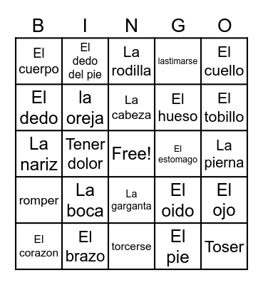 Body Parts in Spanish - Hatayah A Bingo Card