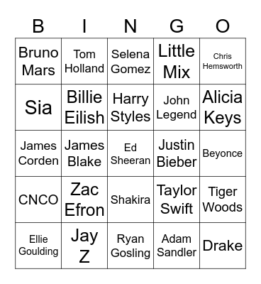 Celebrities! Bingo Card