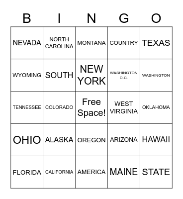 States and Location Bingo Card
