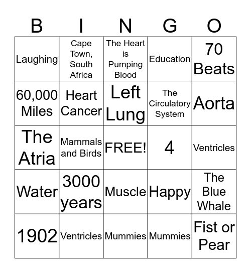 Heart Healthy Bingo  Bingo Card