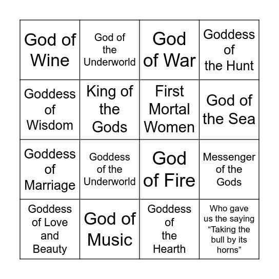 Greek Gods & Goddess Bingo Card