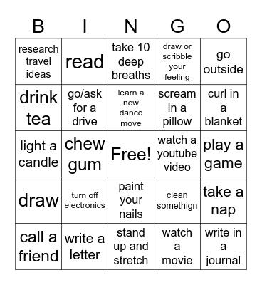 Chill out Bingo Card
