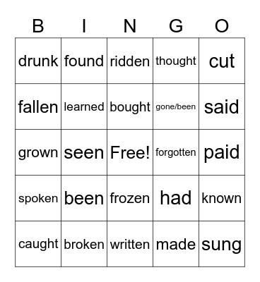 Past Participle Bing Bingo Card