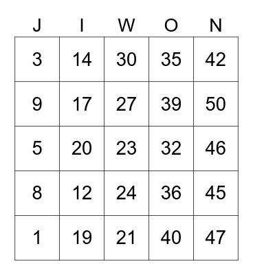 JIWONSG00 Bingo Card