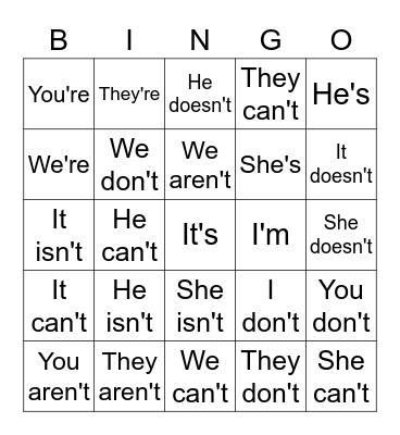Actions Bingo Card