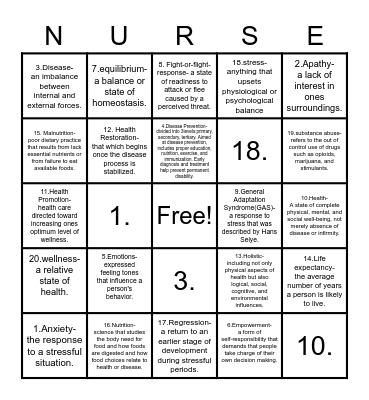 Chapter 1: Healthy lifestyle Bingo Card
