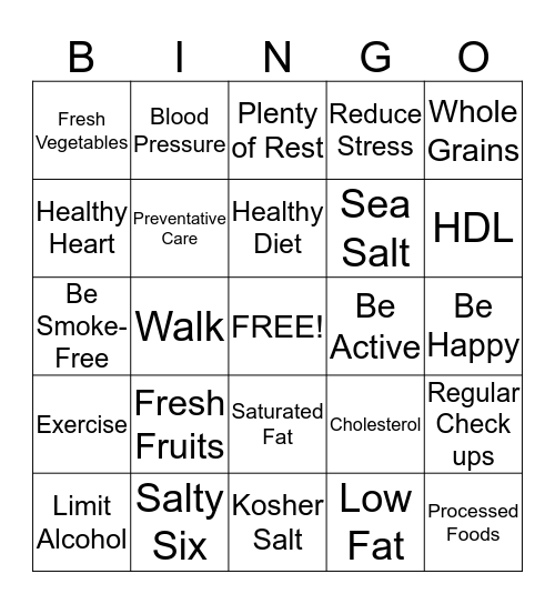 ♥ HEART HEALTHY ♥ Bingo Card