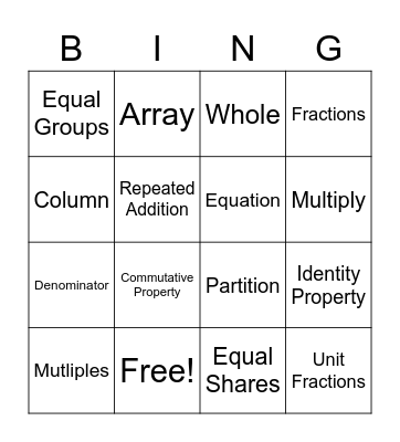 Multiplication / Fraction Vocabulary Bingo Card