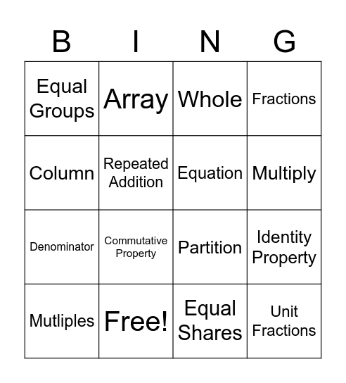 Multiplication / Fraction Vocabulary Bingo Card
