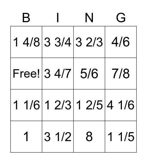 Adding Fractions Bingo Card