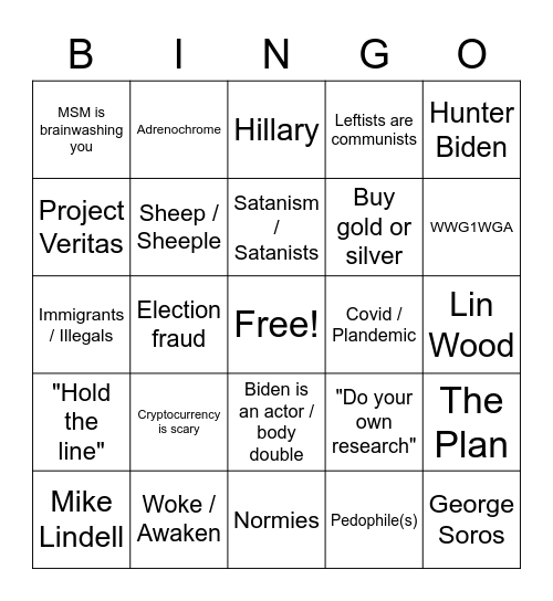 Qanon Bingo Card